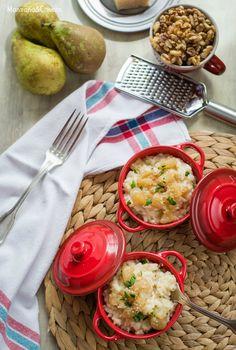 Risotto Parmigiano con pera caramelizada y nueces ralladas (con y sin Thermomix)