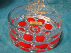 Op Art Glass Bowl – German Walther Crystal Glas – 1970s 1960s Mid Century Design – Red Dots – with Label – Cased Art Glass von everglaze auf Etsy