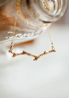 14k Goldfill Branch Necklace - Simple Tree Branch - Nature Inspired Jewelry - Modern Organic Necklace. $34.00, via Etsy.