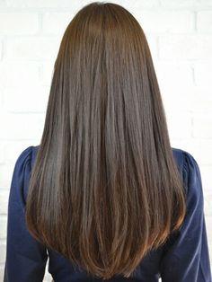 Black brown long straight hair