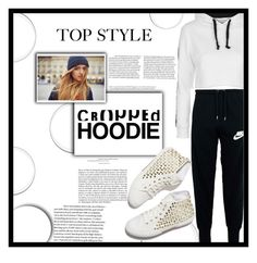 """""""Cropped Hoodie"""" by decisivedreamer ❤ liked on Polyvore featuring Whiteley, Topshop and NIKE"""