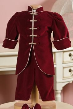 """Exquisite long coat for little boys, matched with the """"Hamlet"""" suit, ideal for colder days, from Petite Coco. Baby Christening, Cold Day, Winter Collection, Little Boys, Velvet, Rompers, Elegant, Coat, Outfits"""