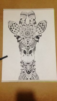 Giraffe Drawing Zentangle Giraffe Decor, Giraffe Art, Giraffe Pattern, Bee Tattoo, Mandala Tattoo, Sharpie Art, Sharpies, Animal Drawings, Cute Drawings