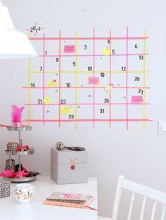 Kreative Washi Tape Ideen: Kalender an der Wand