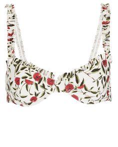 Agraz Ruffled Floral Bikini Top