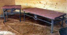 Wrought Iron Rustic Decor - Texas Star Braided Wrought Iron End Table with Rock Top