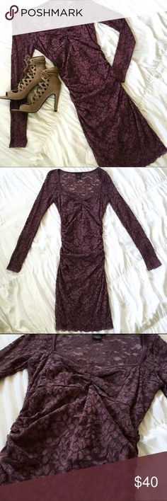 NWOT Purple Midi Lace Dress NWOT Purple Midi Lace Dress Moda International Dresses Midi
