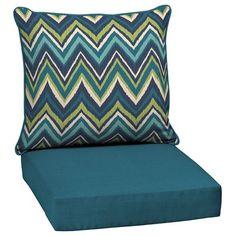 Garden Treasures Blue Flame Stitch 2-Piece Deep Seating Chair Cushion Set