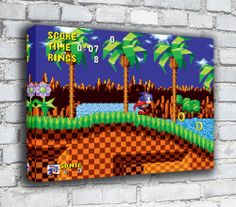 Sonic The Hedgehog Canvas - RETRO GOODNESS! Printed on the finest artists canvas using UV inks for long lasting prints. I print using a HP it is a 12 colour printer one of the best in its class. Hedgehog Game, Sonic The Hedgehog, Super Mario Room, Marvel Cross Stitch, Cute Bedroom Decor, Bedroom Ideas, Retro Videos, Video Game Art, Funny Games