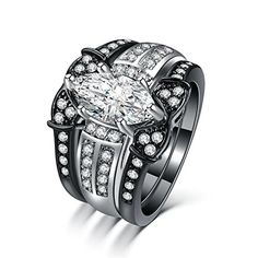 Zealmer 18K Black & White Gold Plated Marquise Cut Cubic Zirconia CZ Sapphire Crystal Bridal Rings Set 9
