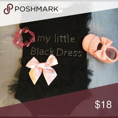 """Fancy Little Black Dress Baby One-Piece 👑 I'm so fancy, you already know! Dress up your baby in this black one-piece with tulle detail and sparkly letters """"my little black dress."""" Pink bow detail. Bottom snaps. Cute by itself or with a tutu to complete the look! Moccs and bracelet not included but Moccs listed separately. One Pieces"""