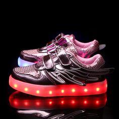 Lentejuelas Zapatos Con LED Y Alas Bebe Niños