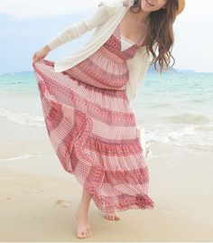 Bohemia Style Pink Stripe custom summer dress Beach by taibiphi
