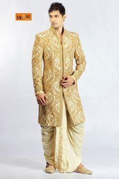 Groom Wear - Designer Groom Wear for Indian Wedding - WedNeeds Big Fat Indian Wedding, Indian Wedding Outfits, Indian Outfits, Indian Clothes, Indian Weddings, Mens Sherwani, Sherwani Groom, Groom Wedding Dress, Wedding Suits