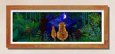 Looking up at the Stars illustration colour print | Etsy #tigers #illustration #prints #etsy Star Illustration, Illustrations, Modern Art, Contemporary Art, Saatchi Art, Digital Prints, Original Artwork, Abstract Art, Mandala