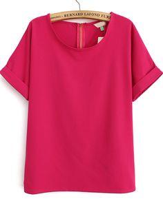 Rose Red Short Sleeve Loose Chiffon Blouse US$20.79