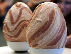 bacon eggs - yep, entirely made of bacon Bacon Flavored Ice Cream, New Recipes, Favorite Recipes, Breakfast Restaurants, Bacon Egg, Creature Comforts, Best Breakfast, Waffles, Peanut Butter