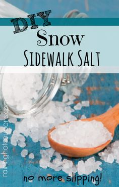 DIY Snow Sidewalk Salt Ingredients: 1 Teaspoon of Dawn Dish Soap 1 Tablespoon of Rubbing Alcohol 8 Cups of Hot Water Instructions: Mix dawn and rubbing alcohol in a large bucket. Stir till combined. Then add water and continue to stir. The mixture is ready to be used as sidewalk salt. Simply, pour the mixture over anywhere that ice has appeared. Unlike other products, this mix will not refreeze and it will not eat away at the concrete like salt can do.
