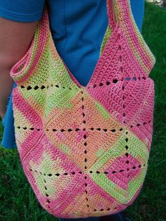 Crochet bag made of squares. I love how it looks tie dye!