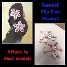 Baseball Flip Flop Sandal Flowers  Baseball by HandmadesByCherie