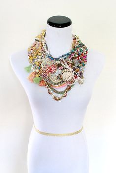 Bib Necklace, Statement Necklace, Collar Necklace, Embroidered Necklace, Big Chunky Necklace, Colorful Boho Necklace, Bridal Bib Necklace by taraleasmith on Etsy https://www.etsy.com/listing/493594837/bib-necklace-statement-necklace-collar