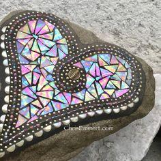 Items similar to Iridescent Butter Cream Heart, Garden Stone, Mosaic, Garden Decor on Etsy Mosaic Rocks, Mosaic Stepping Stones, Stone Mosaic, Pebble Mosaic, Mirror Mosaic, Mosaic Art, Mosaic Tiles, Mosaic Flower Pots, Mosaic Garden