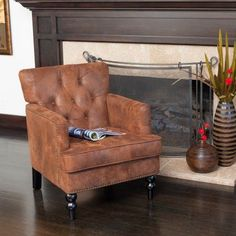 Noble House James Brown Fabric Tufted Club Accent Chair