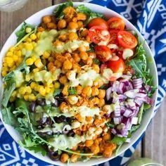 Seasoned Chickpea Taco Salad with Avocado Ranch Dressing