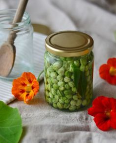 Pickled Nasturtium Seeds recipe (aka poor man's capers) on Decorator's Notebook Blog