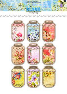 Digital Romantic Floral Mason Jar Tags / vintage by KBandFriends