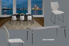 Stijlvolle eetkamer met houten tafel design stoelen en lamp