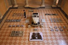 Installation shot of Unfinished Father, by Erik Kessels Reggio Emilia, Creative Communications, Carapace, Its Nice That, Father, Projects, Photography, Scaffolding, Fiat