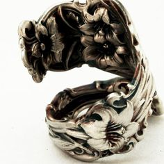 Spoon Ring Art Nouveau Whiting Lily Floral Sterling Silver Spoon Ring Handmade in Your Size (2736). $48.00, via Etsy.
