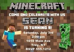 Minecraft Birthday Party Invitation Printable by CollarCityDesigns, $8.00 - Join the hottest new social network for gamers! http://Player.me | Gaming profiles made beautiful