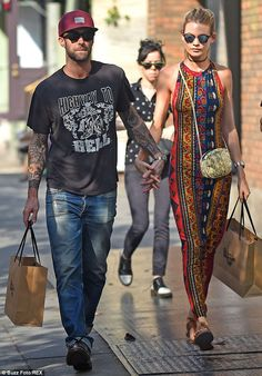 Newlyweds: Adam and Behati tied the knot in Mexico in July, pictured together in NYC in Se...
