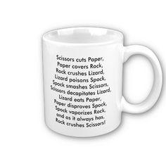 Rock-Paper-Scissors-Lizard-Spock Rules Mug  http://www.zazzle.com/lizardspock*  #rockpaperscissorslizardspock