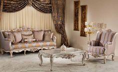 Classic Sofa Sets - Luxury Seat Models - Turkish Sofa Sets Furniture Showroom, Sofa Furniture, Furniture Sets, Ottoman Sofa, Armchair, Turkish Furniture, Country Sofas, Sofa Set Designs, Classic Sofa