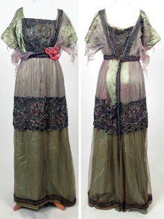 Evening dress, ca. 1909-12. Chiffon, gauze, net, satin. National Trust (UK)