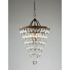 """Fabulous Glass-Drop, Antique Copper 4-Light Round (""""Pottery Barn"""" $ 399) knock-off Chandelier (Overstock ,com $ 166.49)"""