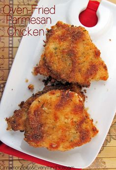 Oven Fried Parmesan Chicken. Bake in preheated airfryer at 200deg in baking dish for 15 minutes depending on size.Try using bone in thighs.