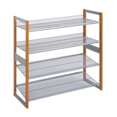 Set of 2 Stackable Shoe Racks. Extra Wide and Deep. Each Shelf Can Hold 4 Pairs of Shoes. Cherry Stained Wood and Silver Finishes. Easy, Single Tool Assembly. NEU Home Neu Home Wooden Stackable Shoe Rack | NH-17544W-1 Shoe Storage Unit, Storage Rack, Diy Storage, Storage Spaces, Stackable Shoe Rack, Rubber Shoes, Patio Chairs, Home Organization, Shelving