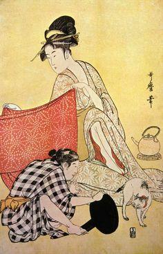 Women making dresses and playing with a Japanese BobTail Kitty (right panel) | Kitagawa Utamaro