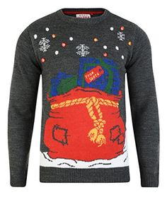 Threadbare Mens Christmas Jumper Led Light Up Knit Sweater Small Grey *** More info could be found at the image url.
