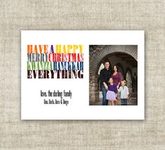 """christmas card holiday greetings family picture card """"happy .... everything!""""  @Cardtopia Designs"""