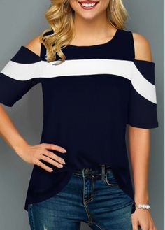 Half Sleeve Cold Shoulder Round Neck T Shirt Styles Selena Gomez Styles Celebrity Styles 2018 Styles Urban Styles Hair Styles Styles Quotes Styles Parisian Stylish Tops For Girls, Trendy Tops For Women, Denim T Shirt, Shirt Blouses, Women's Shirts, Fashion Outfits, Womens Fashion, Trendy Fashion, Half Sleeves