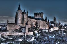 Alcázar de Segovia, con la Catedral de fondo. Visto desde el pinarillo.
