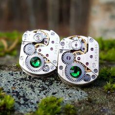 Watch Movement Cufflinks with green swarovski crystals, silver plated, Clockwork Cufflinks, Watch Cufflinks, SteamPunk Cufflinks. by Mysstic on Etsy