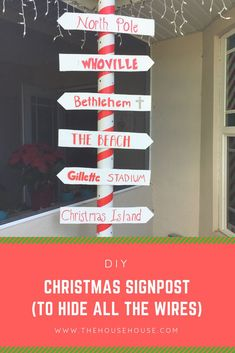 See how we made this fun Christmas Signpost to hide all our exposed wires from our lights. It was simple and it looks so cute. Cheap Christmas Gifts, Christmas On A Budget, Easy Christmas Crafts, Simple Christmas, Holiday Fun, Christmas Goodies, Christmas Ideas, Holiday Decor, Winter Wonderland Christmas