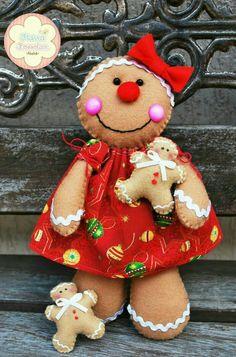 *** Christmas Elf Doll, Gingerbread Christmas Tree, Gingerbread Crafts, Gingerbread Decorations, Felt Decorations, Felt Christmas Ornaments, Christmas Crafts, Christmas Holidays, Gingerbread Man