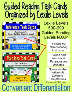 (Follow the link for more Lexile and Guided Reading Levels and Comprehension Topics)  Cards That Are Organized By Lexile Level and Guided Reading Levels~~Students can work on comprehension skills at their own reading levels.  Questions are written across Bloom's Taxonomy levls~Convenient and Time-Saving~ $